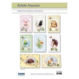 BASTELSETS / CRAFT KITS Kaartenset Populaire huisdieren voor 8 Passepartout-kaarten