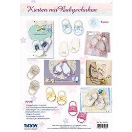 Bilder, 3D Bilder und ausgestanzte Teile usw... Craftset voor 6 kaarten met babyschoentjes