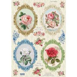 Bilder, 3D Bilder und ausgestanzte Teile usw... Dør kuttet, ramme Vintage Roses - Copy
