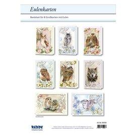 Bilder, 3D Bilder und ausgestanzte Teile usw... Complete card set for 8 passepartout owl cards