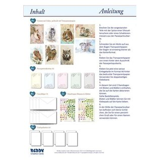 Bilder, 3D Bilder und ausgestanzte Teile usw... Komplet kort sæt til 8 passepartout ugle kort