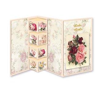 Bilder, 3D Bilder und ausgestanzte Teile usw... Sæt med blomsterkort Shabby Chic, til at designe 9 foldekort!