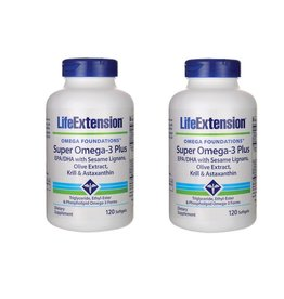 Life Extension Super Omega-3 Plus EPA/DHA With Sesame Lignans, Olive Extract, Krill & Astaxanthin, 2-pack