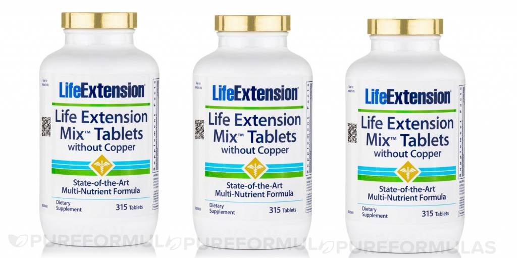 Life Extension Life Extension Mix Tablets Without Copper, 3-pack