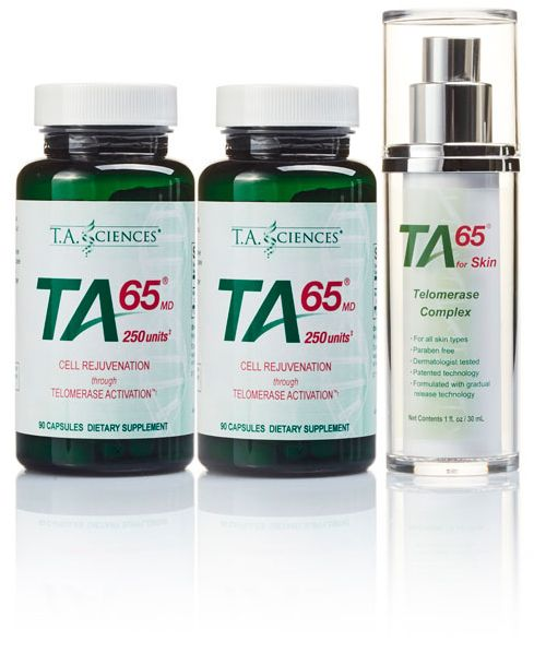 T.A. Sciences TA-65 Starter Kit (2 x TA-65MD 250IE 90 capsules + 1 x TA-65 for Skin 30ml)