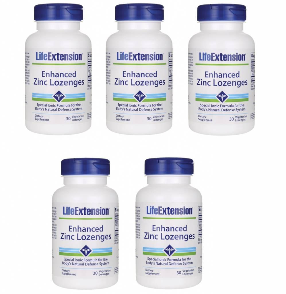 Life Extension Enhanced Zinc Lozenges, 30 Vegetarian Lozenges, 5-pack