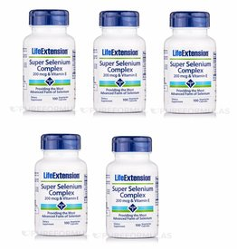 Life Extension Super Selenium Complex, 200 Mcg & Vitamin E 100 Vegetarian Capsules, 5-pack