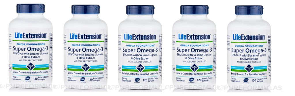 Life Extension Super Omega-3 EPA/DHA With Sesame Lignans & Olive Fruit Extract, 5-pack