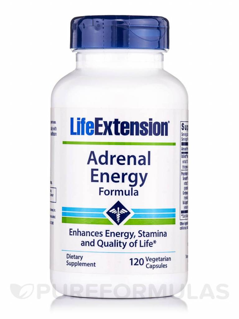 Life Extension Adrenal Energy Formula, 120 Vegetarian Capsules, 2-pack