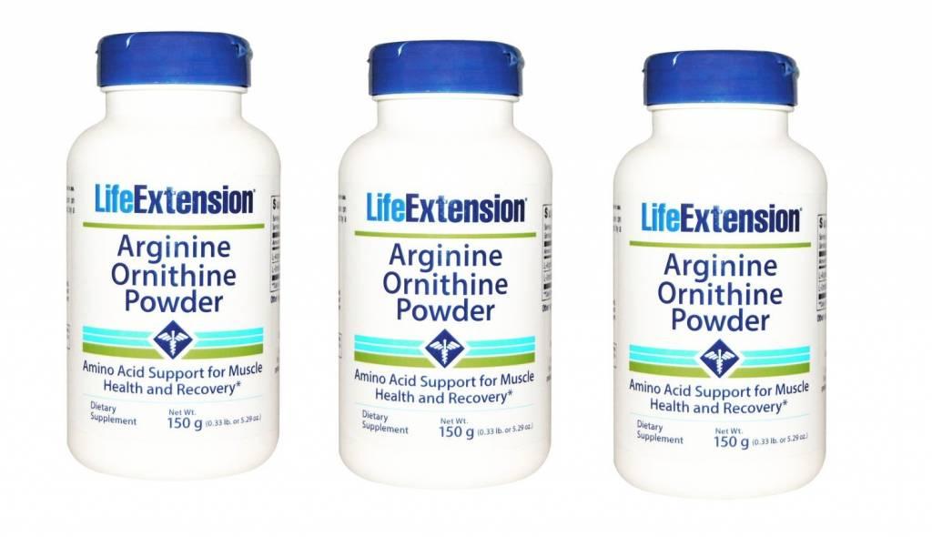 Life Extension Arginine Ornithine Powder, 150 Grams, 3-pack