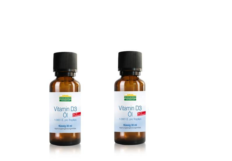Heidelberger Chlorella Vitamin D3 Öl, 1000I.E., 30ml, 2-pack