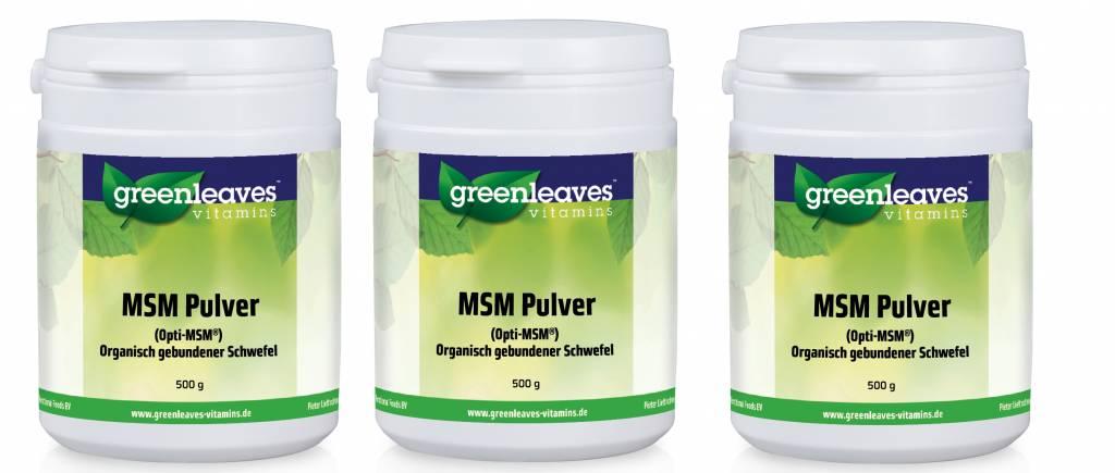Greenleaves vitamins MSM Pulver (Opti-MSM), 3-pack