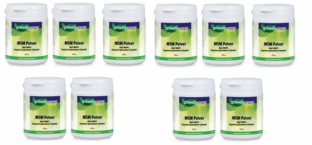 Greenleaves vitamins MSM Pulver (Opti-MSM), 10-pack
