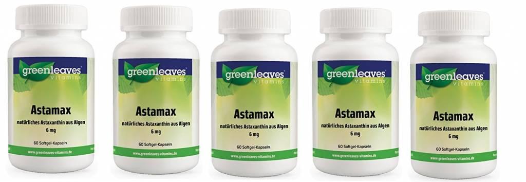 Greenleaves vitamins Astamax (astaxanthine) 6mg, 5-pack