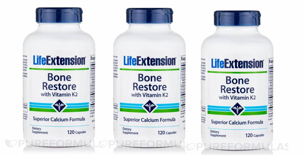 Life Extension Bone Restore With Vitamin K2, 120 Capsules, 3-pack
