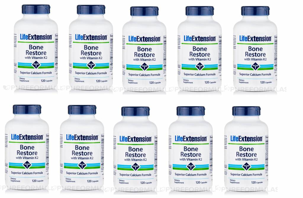 Life Extension Bone Restore With Vitamin K2, 120 Capsules, 10-pack