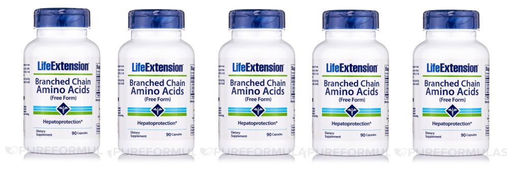 Life Extension Branched Chain Amino Acids, 90 Capsules, 5-pack