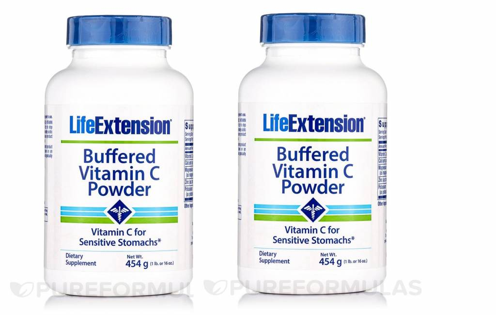 Life Extension Buffered Vitamin C Powder, 454 Grams (16 Oz), 2-pack