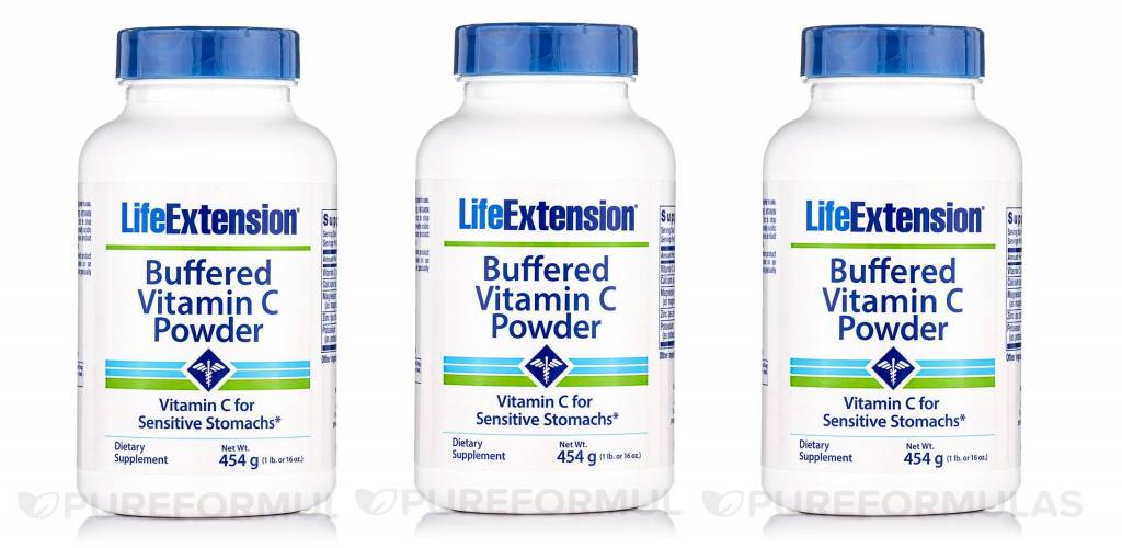 Life Extension Buffered Vitamin C Powder, 454 Grams (16 Oz), 3-pack