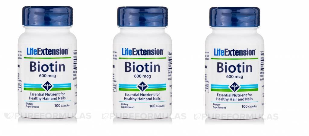 Life Extension Biotin, 600 Mcg 100 Capsules, 3-pack