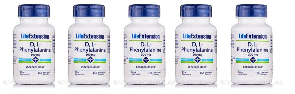Life Extension D,L-Phenylalanine Capsules, 500 Mg 100 Vegetarian Capsules, 5-pack
