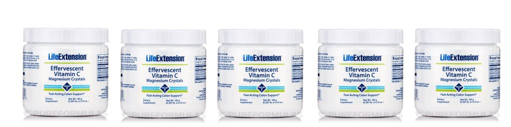 Life Extension Effervescent Vitamin C - Magnesium Crystals, Net Wt. 180 G (0.397 Lb. Or 6.35 Oz.), 5-pack