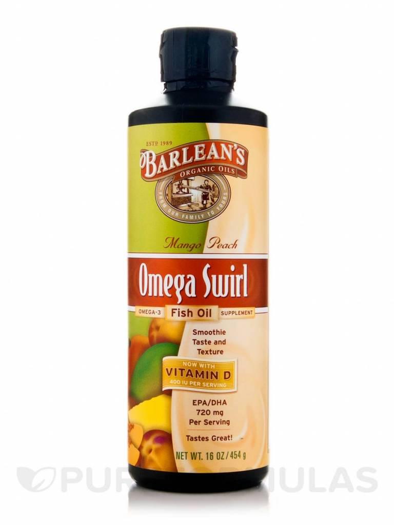 Barlean's Omega Swirl, Fish Oil With Vitamin D Supplement, Mango Peach, 16 Oz (454 G)
