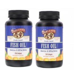 Barlean's Fresh Catch, Fish Oil Supplement, Omega-3 EPA/DHA, Orange Flavor, 250 Softgels, 2-pack