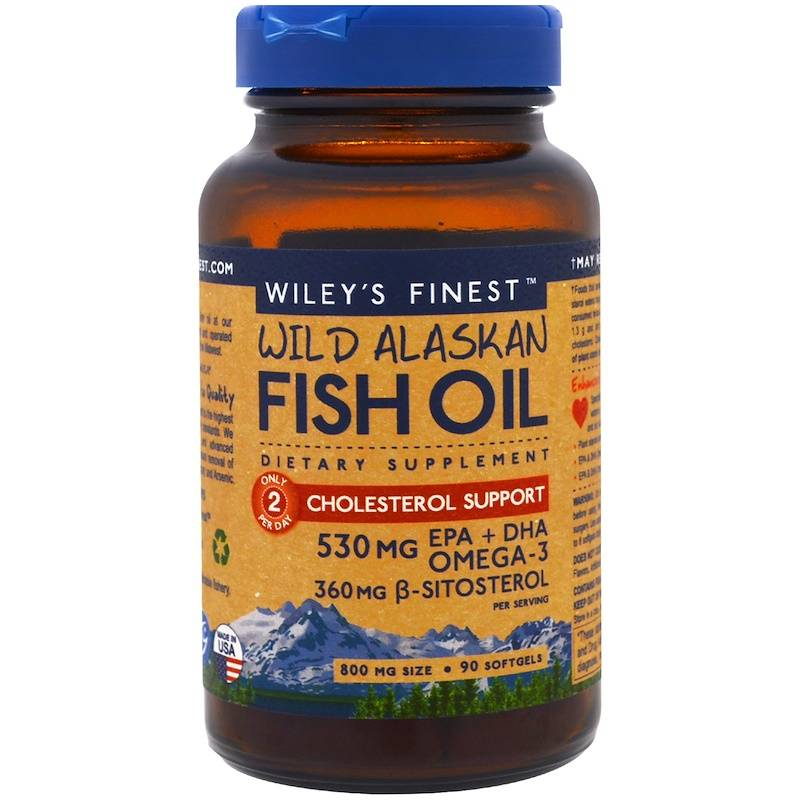 Wiley's Finest Wild Alaskan Fish Oil, Cholesterol Support, 90 Softgels