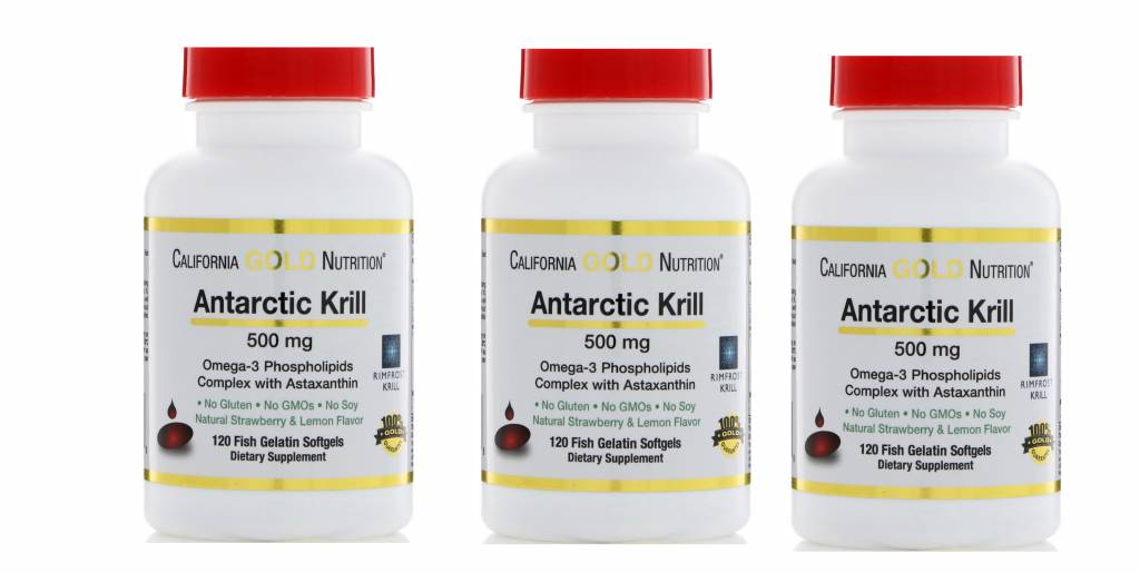 Life Extension California Gold Nutrition Antarctic Krill, 500mg, 120 Fish Gelatin Softgels, 3-pack