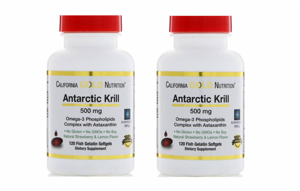 Life Extension California Gold Nutrition Antarctic Krill, 500mg, 120 Fish Gelatin Softgels, 2-pack