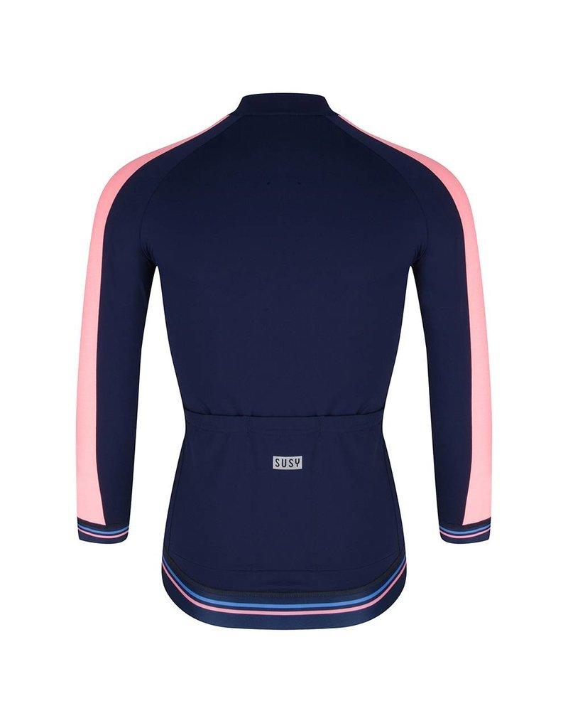 Dames fietsshirt navy fel roze