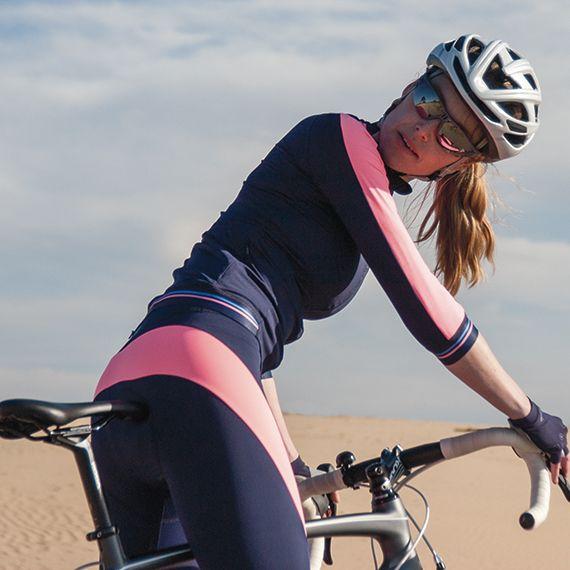 lange dames fietsbroek navy fel roze
