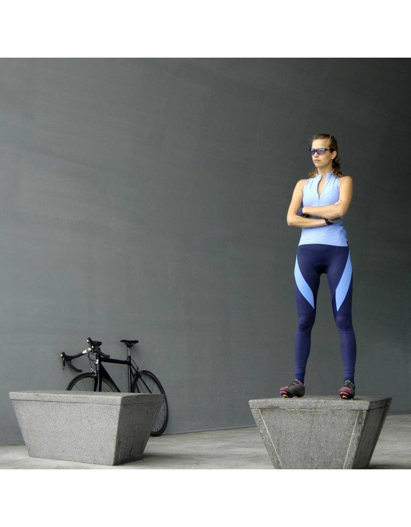 Lange dames fietsbroek navy blauw