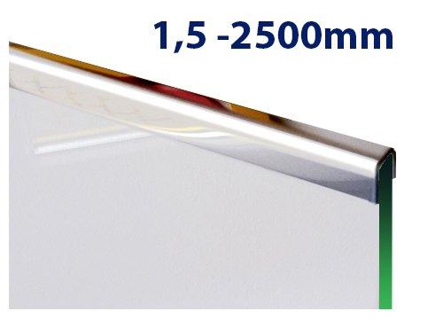 glas einfassprofil u profil 1 5mm edelstahl bis l 2500mm. Black Bedroom Furniture Sets. Home Design Ideas