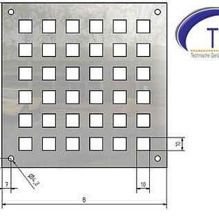 Feuille perforée perforée de trou carré d'acier inoxydable 10x10mm épaisseur de matériel 1.5mm