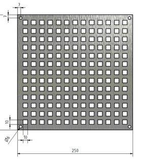 Gestanztes Lochblech aus Edelstahl Quadratloch 10x10mm Materialstärke 1,5mm