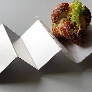 Versandmetall Hot-Dog-Ablage Snackwelle aus Edelstahl geschliffen, gebürstet Korn 320