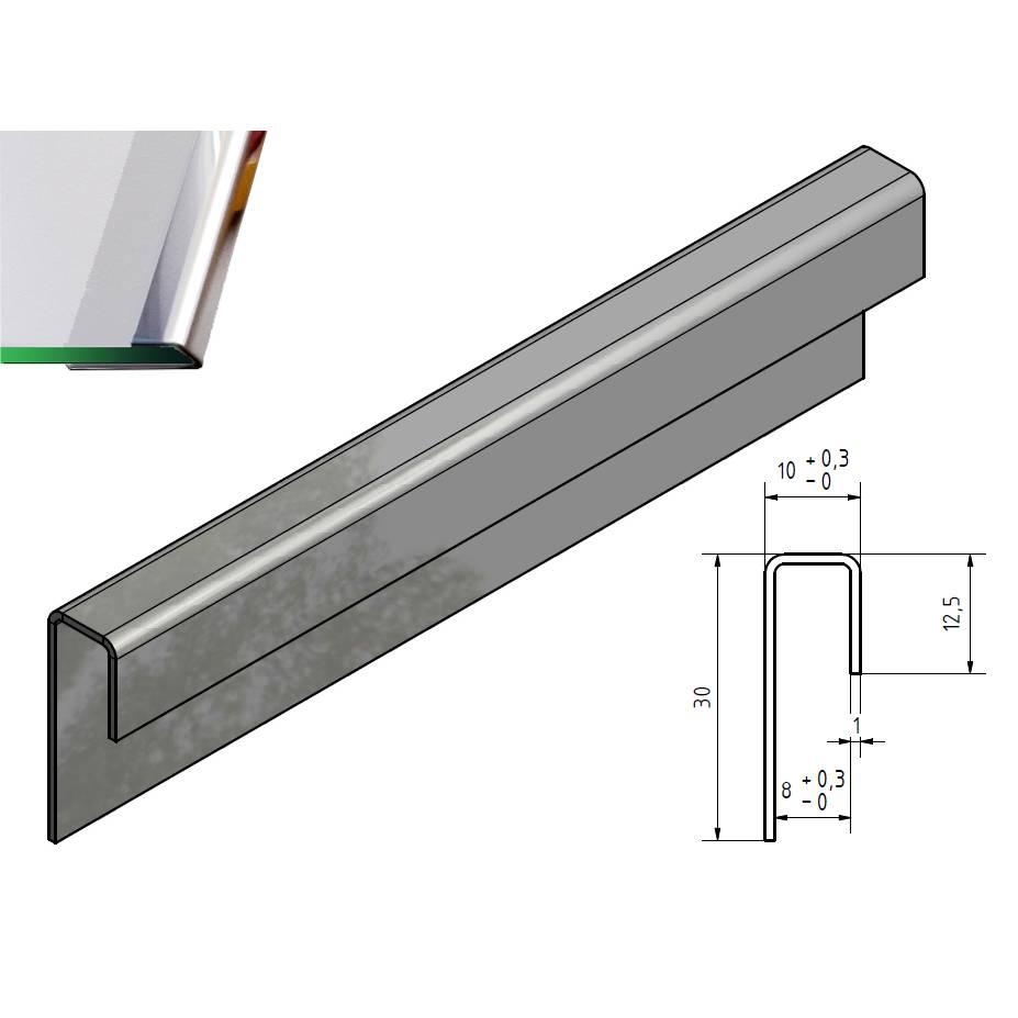 glas einfassprofil u profil edelstahl bis l 2500mm von. Black Bedroom Furniture Sets. Home Design Ideas