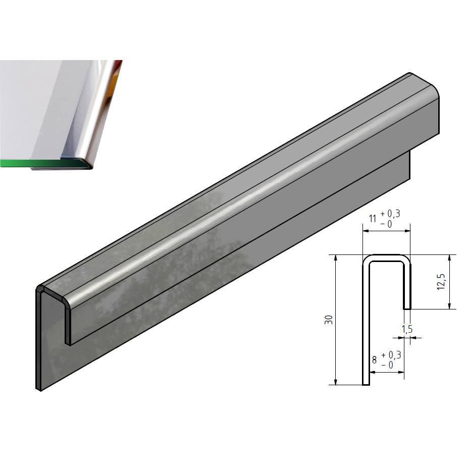 glasrandprofiel u profiel roestvrij staal tot lengte 2500 mm vor glas dickte van 8mm tot 10 mm. Black Bedroom Furniture Sets. Home Design Ideas