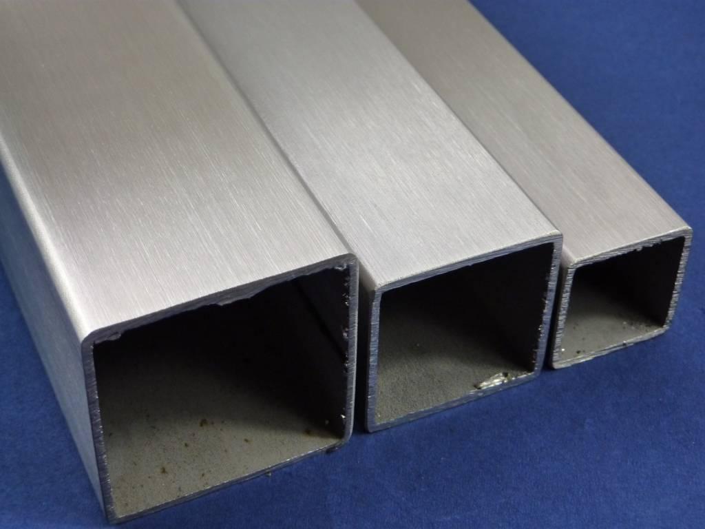 Tube carr de d coration carr en acier inoxydable sci surface bross en grain 240 - Tube carre acier brico depot ...