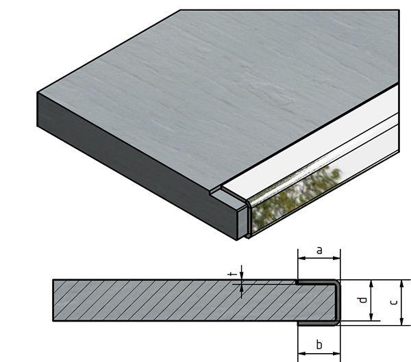 einfassprofil u profil edelstahl f r platten von 10mm bis 40mm st rke kaufen versandmetall. Black Bedroom Furniture Sets. Home Design Ideas
