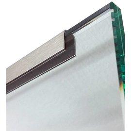 Versandmetall Profil encadrement inox  pour vitrage de balcon, 1,5mm, longueur jusqu'à 2500mm surface brossé en grain 320