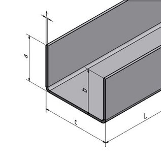 Versandmetall U-Profil aus Aluminium gekantet bis Breite c= 70-100mm und Länge 2500 mm