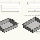 Versandmetall Edelstahlwanne geschweißt 1,5mm h=120mm axb 340x440mm INNEN Schliff K320 mit Bügelgriffen