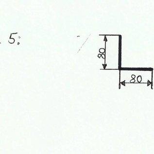 -100 Stück Profil 5 nach Skizze aus Edelstahl 2,0mm 80x80mm (1.4301) Länge 30mm einseitig mit Schliff Korn 320