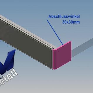 Versandmetall Gouttière de toit vitré 11mm, pour verre de sécurité feuilleté de 10 ou 10,52mm, acier inoxydable 1.4301, surface brossé  en grain320