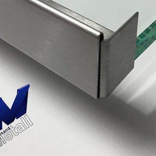 Versandmetall Edelstahl Glasdach-Regenrinne 11mm für ESG-Glas 10mm oder VSG Glas 10,52mm, 1.4301 aussen Schliff K320