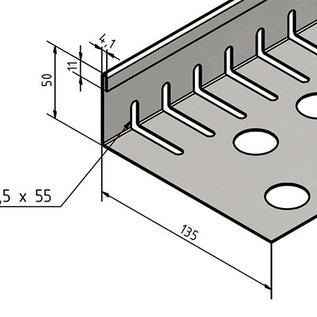 Versandmetall Kiesfangleiste klein mit Falz - Edelstahl – Gelocht – 90° gekantet.