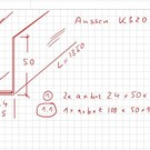 Versandmetall - Pos 1+1.1 3 Stück Edelstahlwinkel ungleichschenkelig 1-fach gekantet 1,0mm 2 Stck axb 24x50mm L=1350mm 1 Stck 100x50mm L=975mm AUSSEN Schliff K320